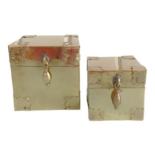 Campaign Style Square Brass Boxes - A Pair