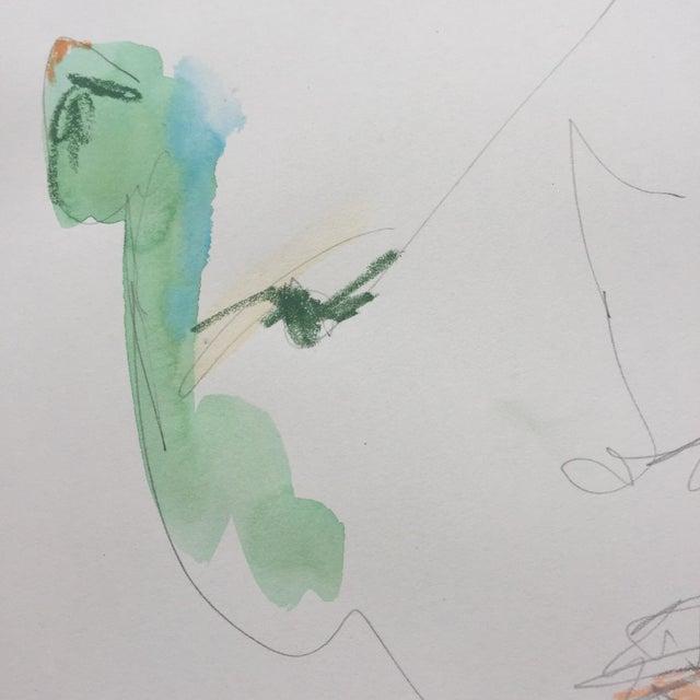 Lori Fox Watercolor & Oil Pastel Painting - Image 4 of 5