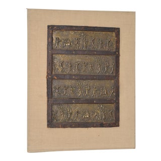 Four Antique Classical Greek Embossed Bronze Panels c.1880s