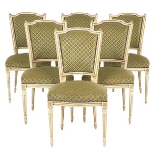 Louis XVI Style French Antique Sage Green Dining Chairs