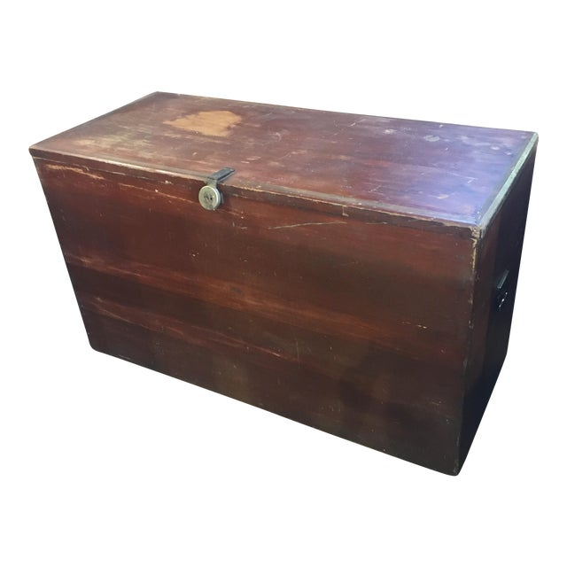 Primitive red hand made cedar chest chairish