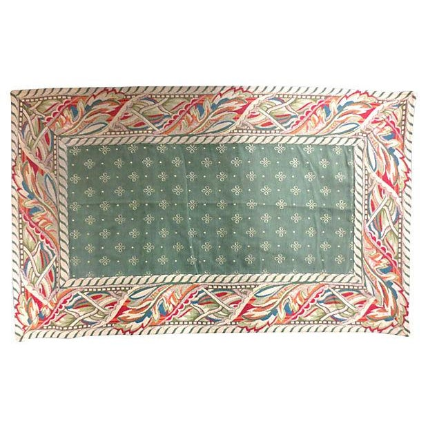"Image of Vintage Woven Green & Red Tapestry Rug - 3'3"" x 2'"