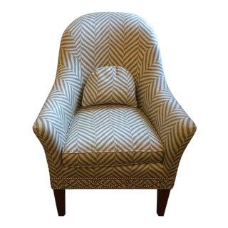 Gray & White Chevron Club Chair