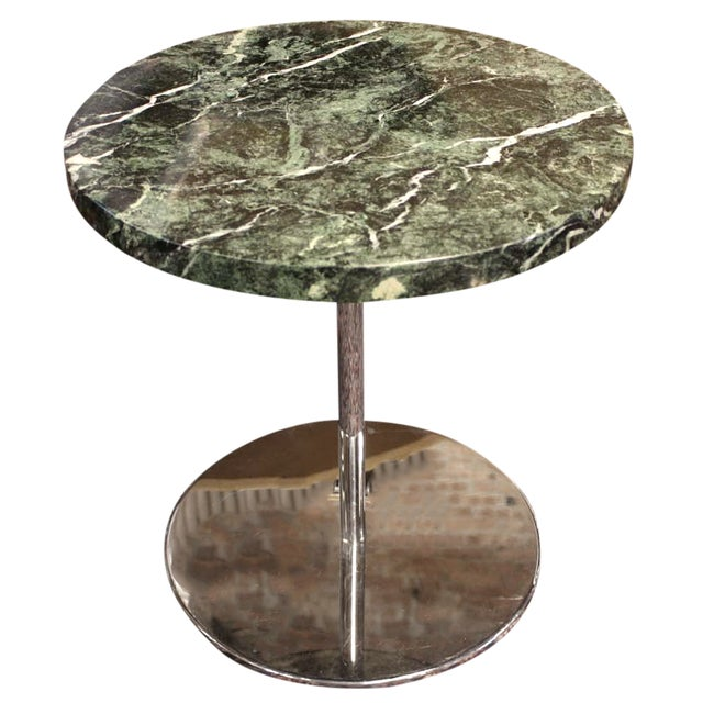 Zographos Side Table with Green Marble Top - Image 1 of 5