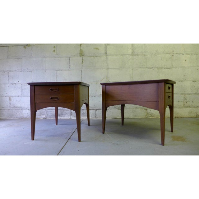 Mid Century Modern Walnut Nightstands - A Pair - Image 3 of 6