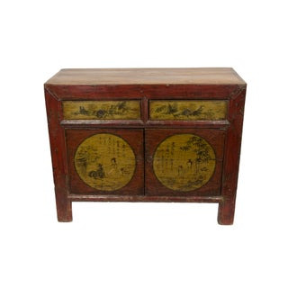 Red Gansu Antique Cabinet