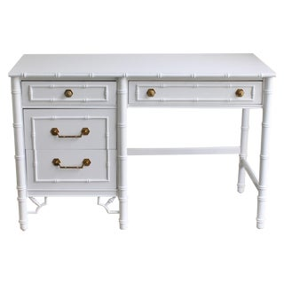 Vintage Thomasville White Faux Bamboo Desk
