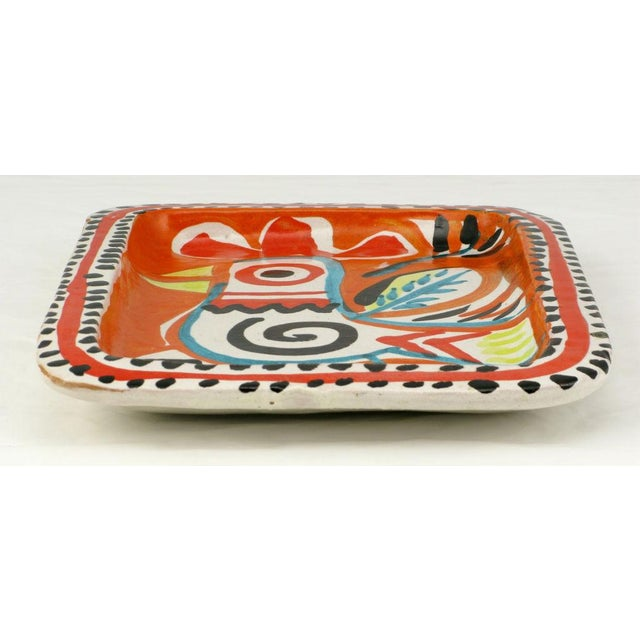 Colorful Italian Majolica Tray Made For Joseph Magnin Co. - Image 3 of 4