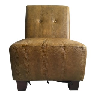 Contemporary Faux Snakeskin Print Leather Slipper Chair
