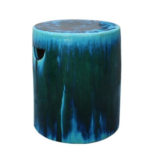Chinese Ceramic Clay Green Turquoise Glaze Round Flat Column Garden Stool