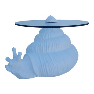 Sculptural Snail Ceramic Base Side Table
