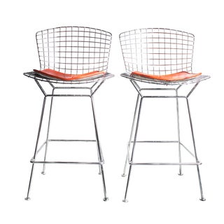 Bertoia Chrome Counter Stools- A Pair