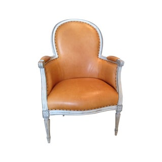 Gray Framed French Arm Chair
