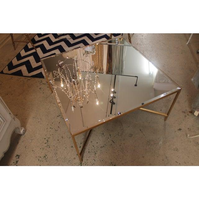 gold metal base mirrored top square coffee table chairish