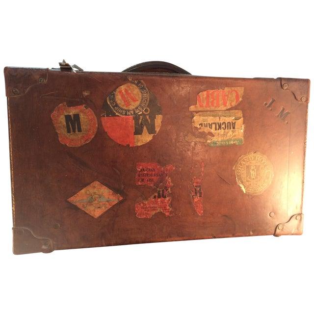 Antique Suitcase Bullock Hide Worldwide Traveler - Image 1 of 6