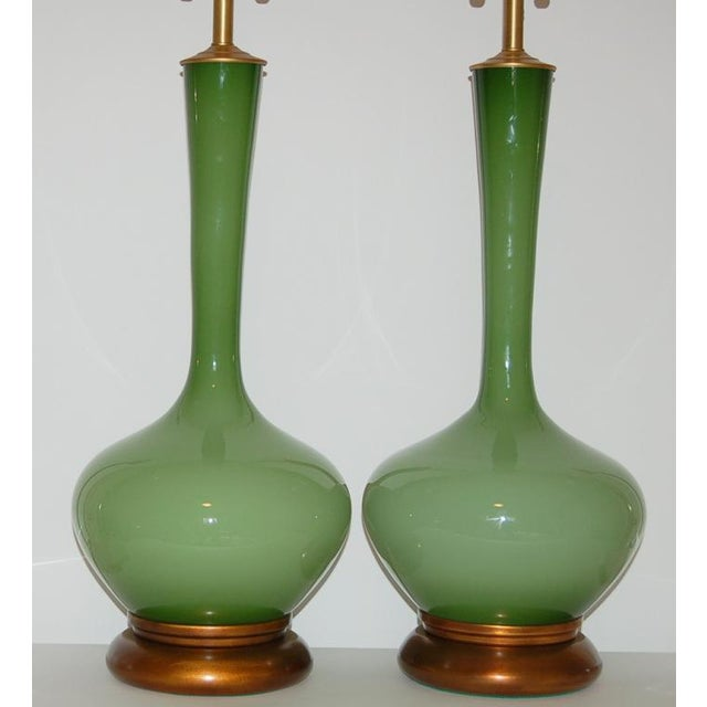 Marbro Handblown Swedish Green Lamps - Image 4 of 8