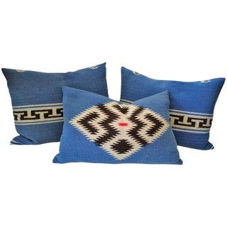 Group of Three Texcoco Mexican Indian Weaving Bolster Pillows