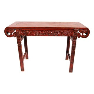 Red Crackle Ming Console