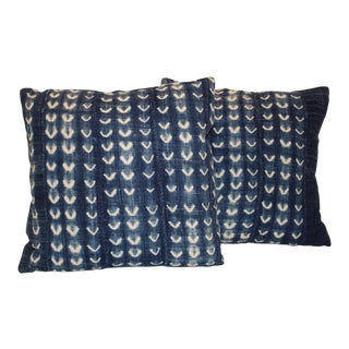 African Indigo Fabric Pillows - A Pair