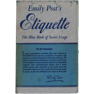 """Etiquette: The Blue Book of Social Usage"" 1953 Book"