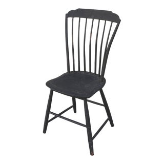 Original Black Painted Step Down New England Windsor Chair, Dated 1812