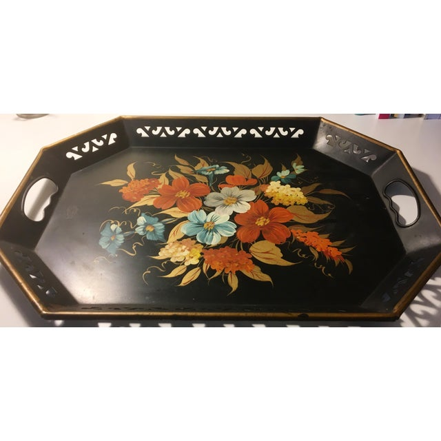 Vintage Black & Floral Serving Tray - Image 3 of 4