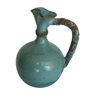 Italian Aqua Blue Pitcher Vase
