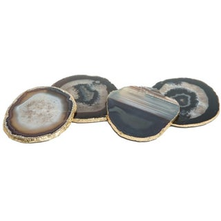 Black Agate Coasters - Set of 4