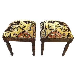 Stools With Antique Caucasian Rug -- A Pair