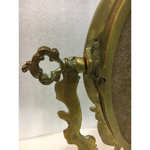 Image of Vintage 1930's Brass Table Top Mirror