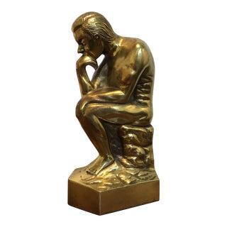 Large Brass Thinker Statue