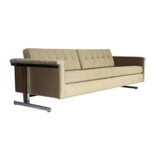 Milo Baughman Attr Chrome & Wood Frame Mohair Sofa