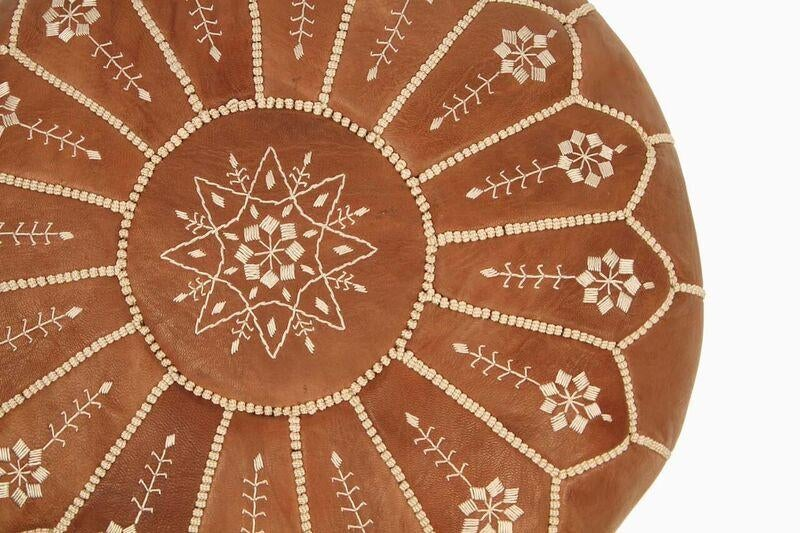 Moroccan Leather Pouf In Chestnut Starburst Stuffed