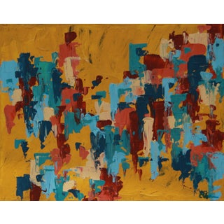 """Adobe Village"" Abstract Painting - C. Plowden"