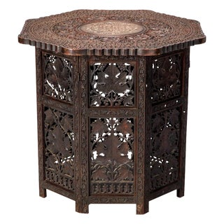Octagonal Carved Wood Moorish Table