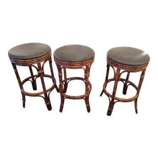 Burnt Bamboo Bar Stools With Woven Seats - Set of 3