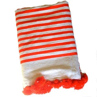 Orange Striped Moroccan Blanket with Tassels