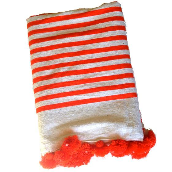 Image of Orange Striped Moroccan Blanket with Tassels