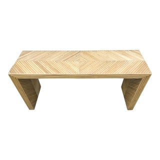 Vintage Split Reed Bamboo Console in the style of Gabriella Crespi