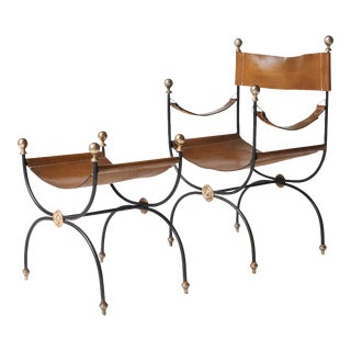 Jacques Adnet safari chair and ottoman set