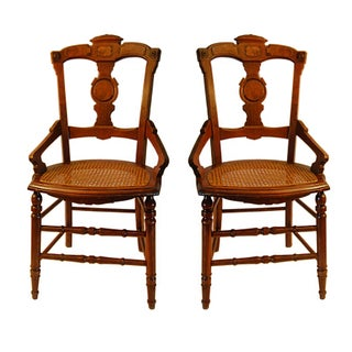 Antique Dutch Cane Bottom Chairs - Pair
