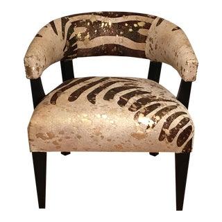 Exotic Designer Pony Skin Barrel Chair With Zebra Stripe