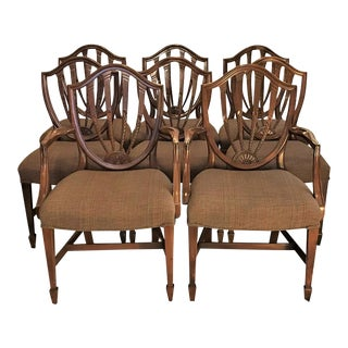 Carved Hepplewhite Shield Back Dining Chairs - Set of 8