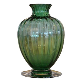 Baccarat Green Crystal Ribbed Baluster Form Vase