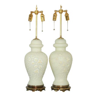 Italian Lamps With Applied Flowers