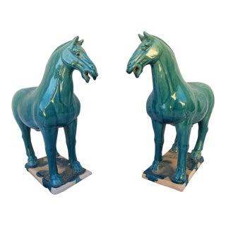 Pair Vintage Tang Horses