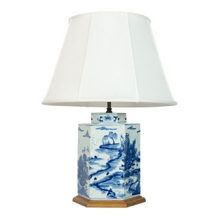 Pair of Blue and White Hexagonal Table Lamps