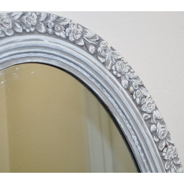 1950's Vintage French Linen Chalk Paint Mirror - Image 4 of 6