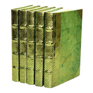 Exotic Metallic Collection Chartreuse Green Books - Set of 5