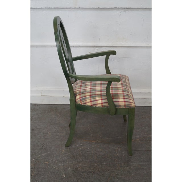 Ethan Allen Country Green Painted Arm Chair - Image 4 of 11
